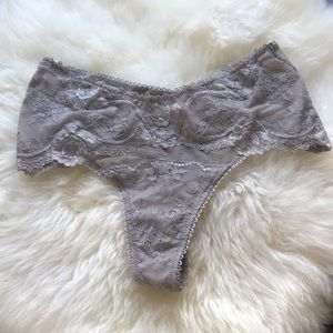 NWT Victoria's Secret gray lace thong panty!